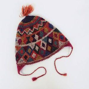 Accessories - Geometric Pattern Knit Beanie Wool Blend